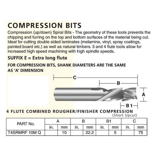 4 Flute Combined Rougher/Finisher Compression