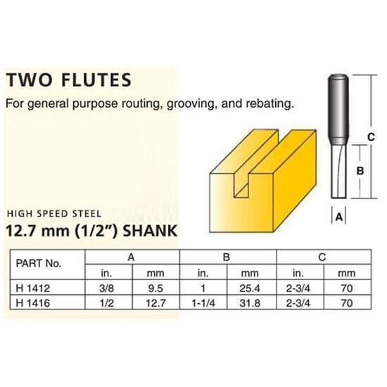 Straight High Speed Steel Router Bit – Two Straight Flutes (1/2″ Shank)