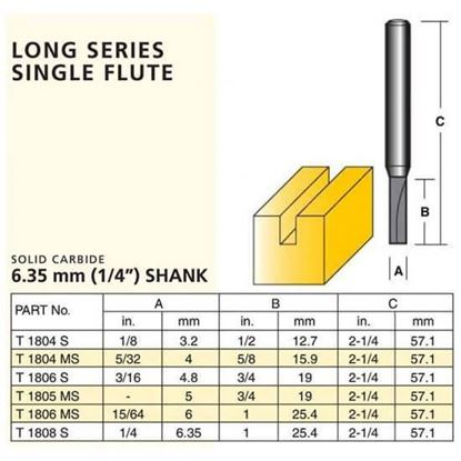 Straight Solid Carbide Router Bit – Long Series Single Flute