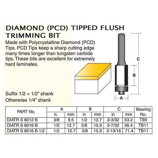 Diamond (PCD) Tipped Flush Trimming Bit