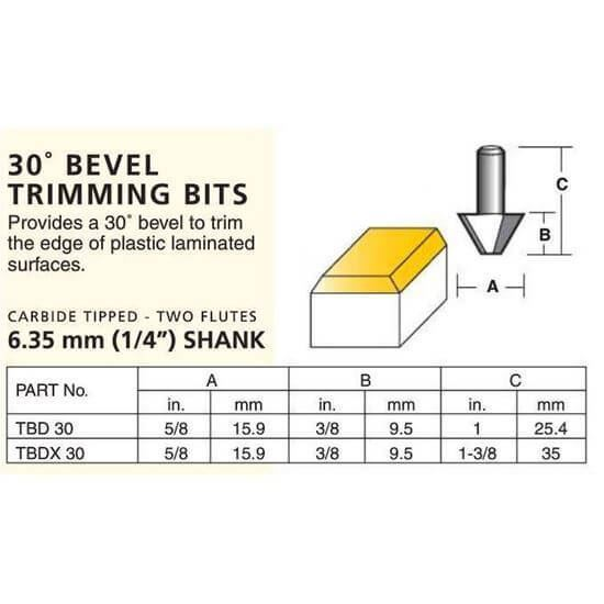Laminate 30º Bevel Trimming Bits