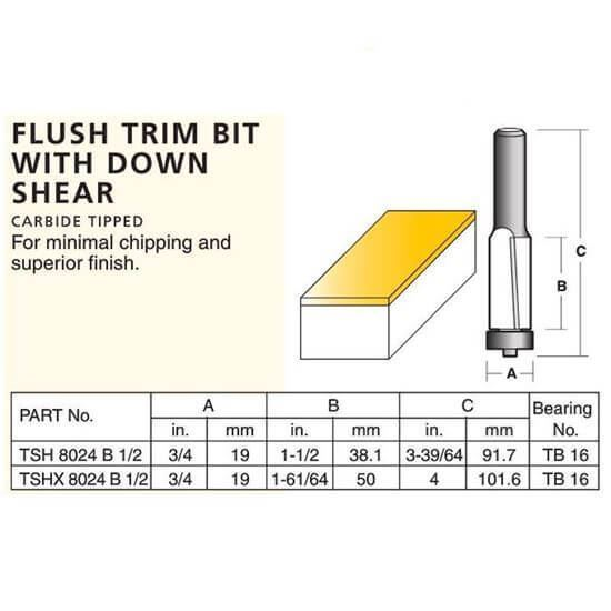 Flush Trim Bit With Down Shear
