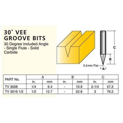 Edge And Face Forming 30° Vee Groove Bits