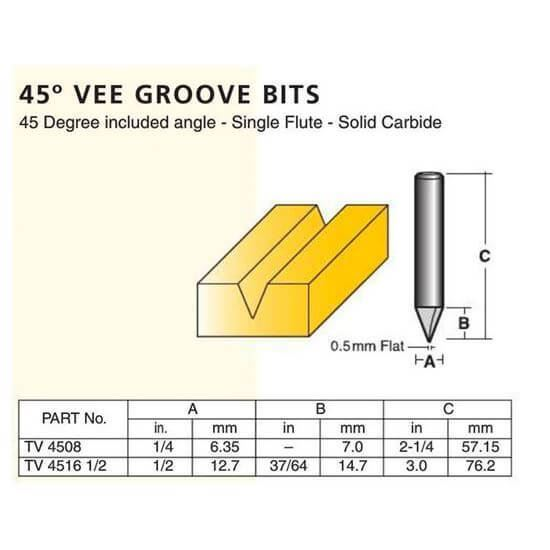 Edge And Face Forming 45° Vee Groove Bits