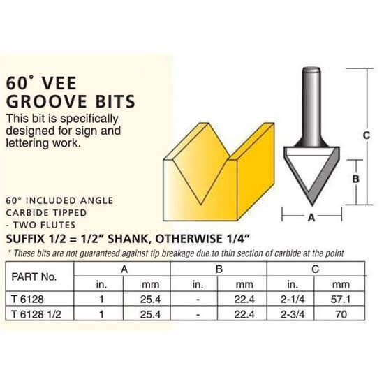 Edge And Face Forming 60° Vee Groove Bits