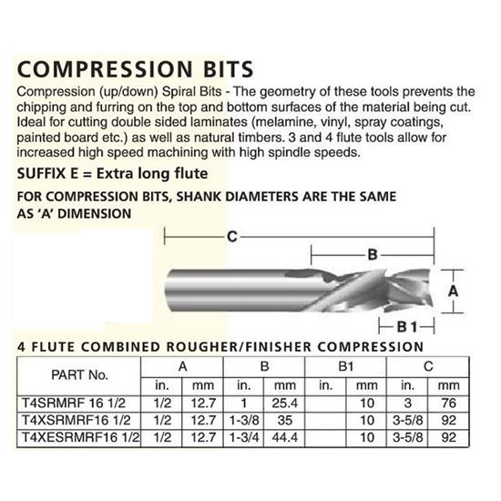 4 Flute Combined Rougher/Finisher Compression (Short Upcut)