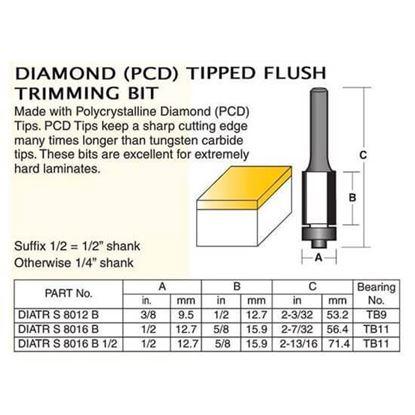 Diamond (PCD) Tipped Flush Trimming Bit