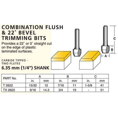 0Laminate Combination Flush & 22º Bevel Trimming Bits – Straight Cut