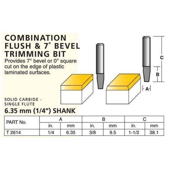 Laminate Combination Flush & 7º Bevel Trimming Bit