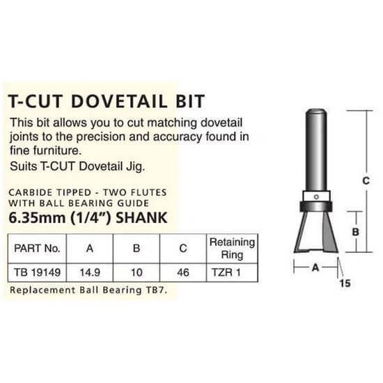 Groove Forming T-Cut Dovetail Bit