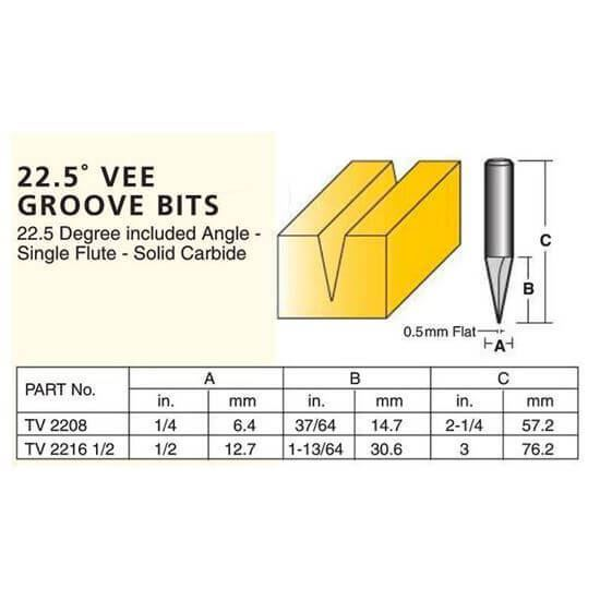 Edge And Face Forming 22.5° Vee Groove Bits